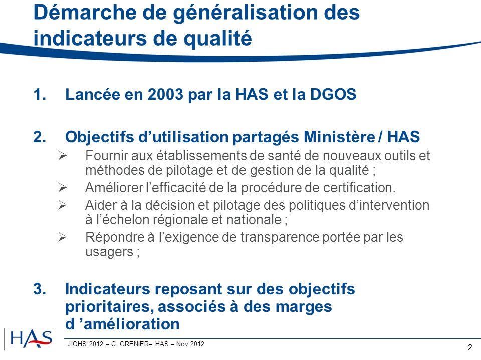 Démarche de généralisation des indicateurs de qualité 1.Lancée en 2003 par la HAS et la DGOS 2.Objectifs dutilisation partagés Ministère / HAS Fournir aux établissements de santé de nouveaux outils et méthodes de pilotage et de gestion de la qualité ; Améliorer lefficacité de la procédure de certification.