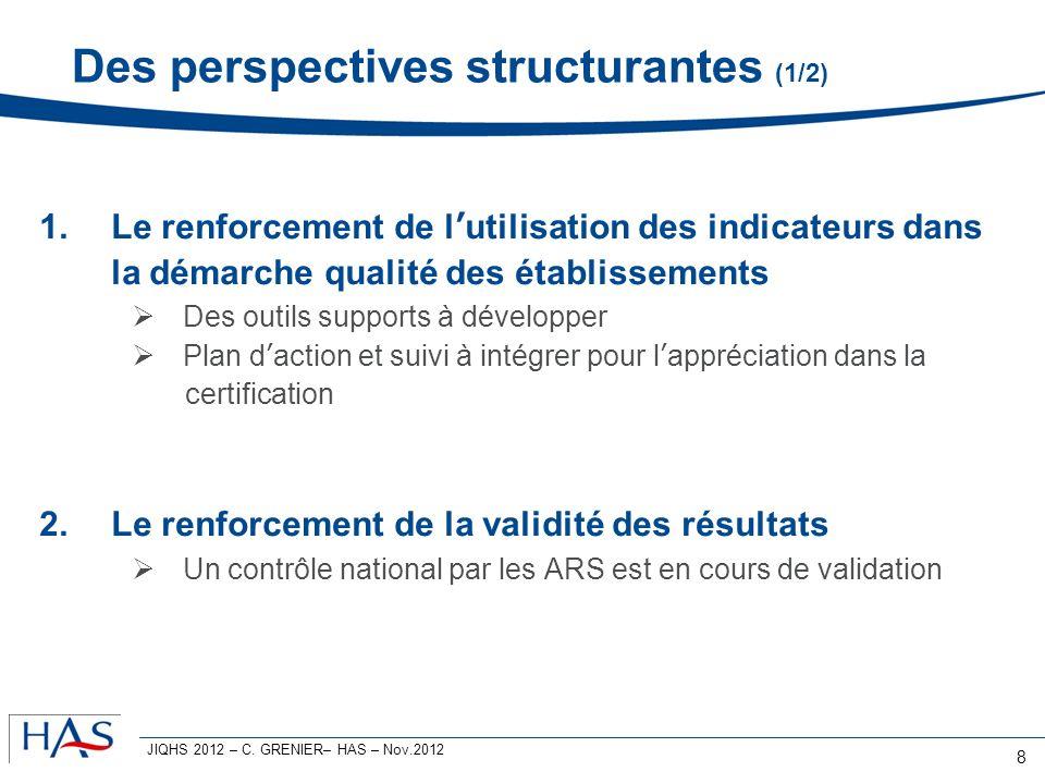 Des perspectives structurantes (1/2) 1.Le renforcement de lutilisation des indicateurs dans la démarche qualité des établissements Des outils supports