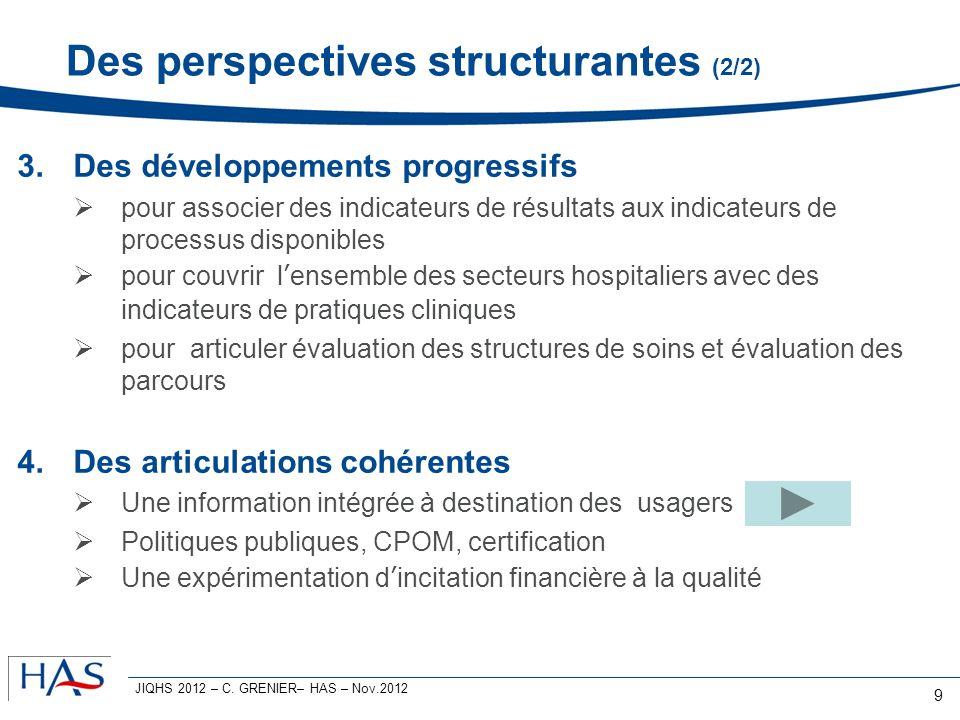 Des perspectives structurantes (2/2) 3.Des développements progressifs pour associer des indicateurs de résultats aux indicateurs de processus disponib