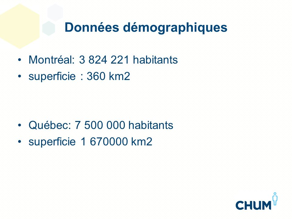 Données démographiques Montréal: 3 824 221 habitants superficie : 360 km2 Québec: 7 500 000 habitants superficie 1 670000 km2
