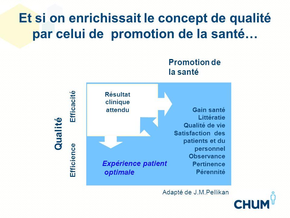 Promotion de la santé Gain santé Littératie Qualité de vie Satisfaction des patients et du personnel Observance Pertinence Pérennité Qualité Efficacit