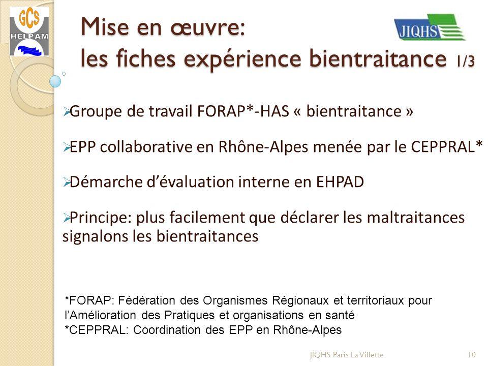 JIQHS Paris La Villette Groupe de travail FORAP*-HAS « bientraitance » EPP collaborative en Rhône-Alpes menée par le CEPPRAL* Démarche dévaluation int