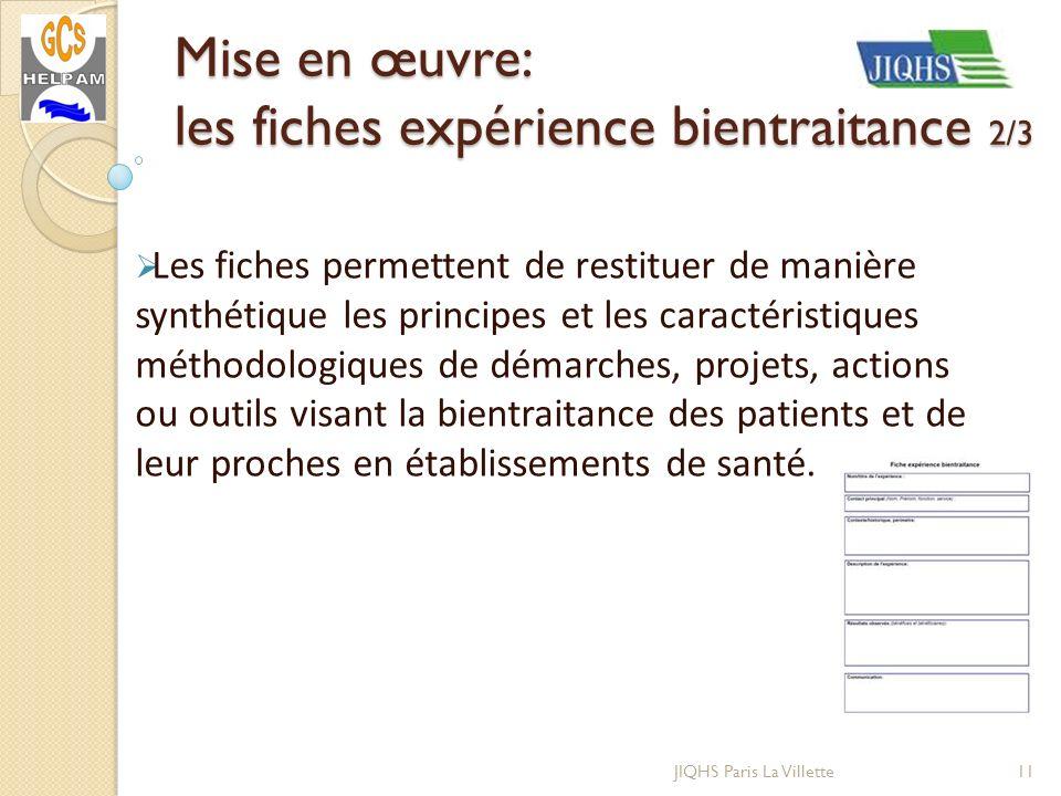 JIQHS Paris La Villette Les fiches permettent de restituer de manière synthétique les principes et les caractéristiques méthodologiques de démarches,