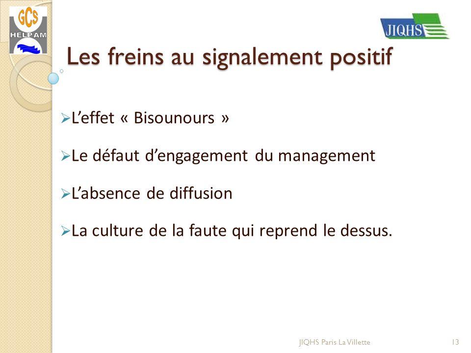 JIQHS Paris La Villette Leffet « Bisounours » Le défaut dengagement du management Labsence de diffusion La culture de la faute qui reprend le dessus.