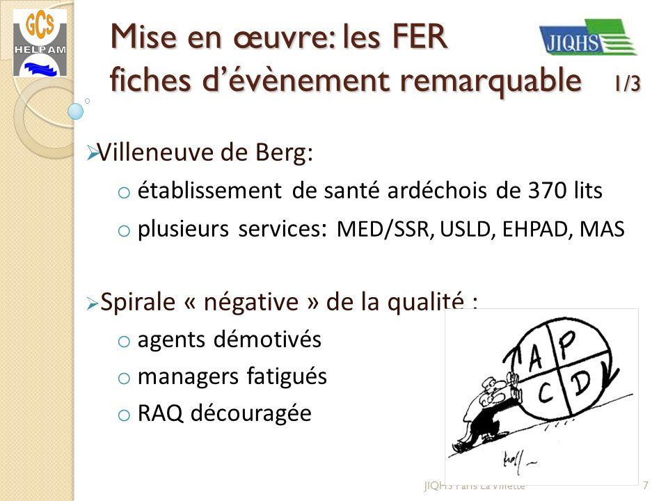 JIQHS Paris La Villette Villeneuve de Berg: o établissement de santé ardéchois de 370 lits o plusieurs services : MED/SSR, USLD, EHPAD, MAS Spirale «