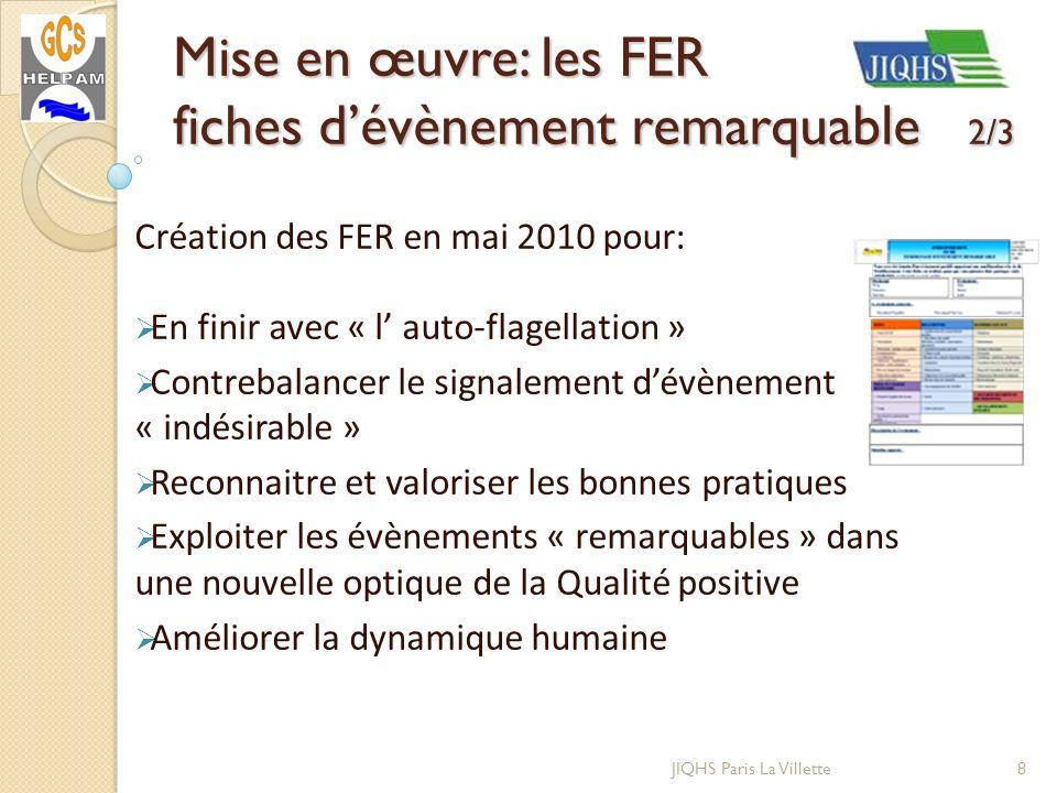 JIQHS Paris La Villette Création des FER en mai 2010 pour: En finir avec « l auto-flagellation » Contrebalancer le signalement dévènement « indésirabl