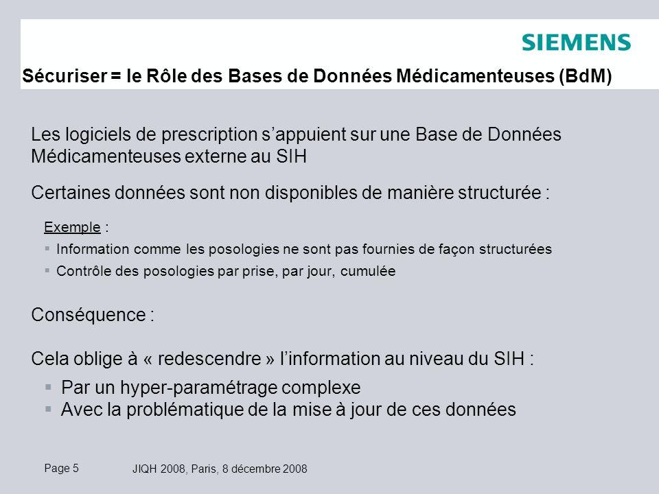 Page 5 JIQH 2008, Paris, 8 décembre 2008 Les logiciels de prescription sappuient sur une Base de Données Médicamenteuses externe au SIH Certaines données sont non disponibles de manière structurée : Exemple : Information comme les posologies ne sont pas fournies de façon structurées Contrôle des posologies par prise, par jour, cumulée Conséquence : Cela oblige à « redescendre » linformation au niveau du SIH : Par un hyper-paramétrage complexe Avec la problématique de la mise à jour de ces données Sécuriser = le Rôle des Bases de Données Médicamenteuses (BdM)