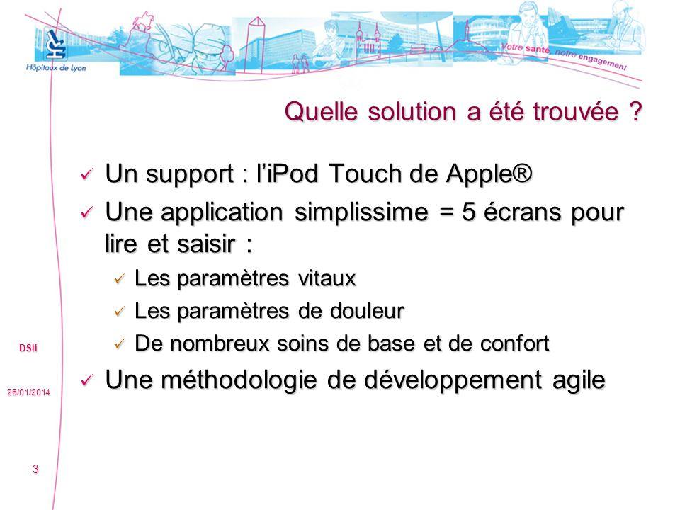 Quelle solution a été trouvée ? Un support : liPod Touch de Apple® Un support : liPod Touch de Apple® Une application simplissime = 5 écrans pour lire
