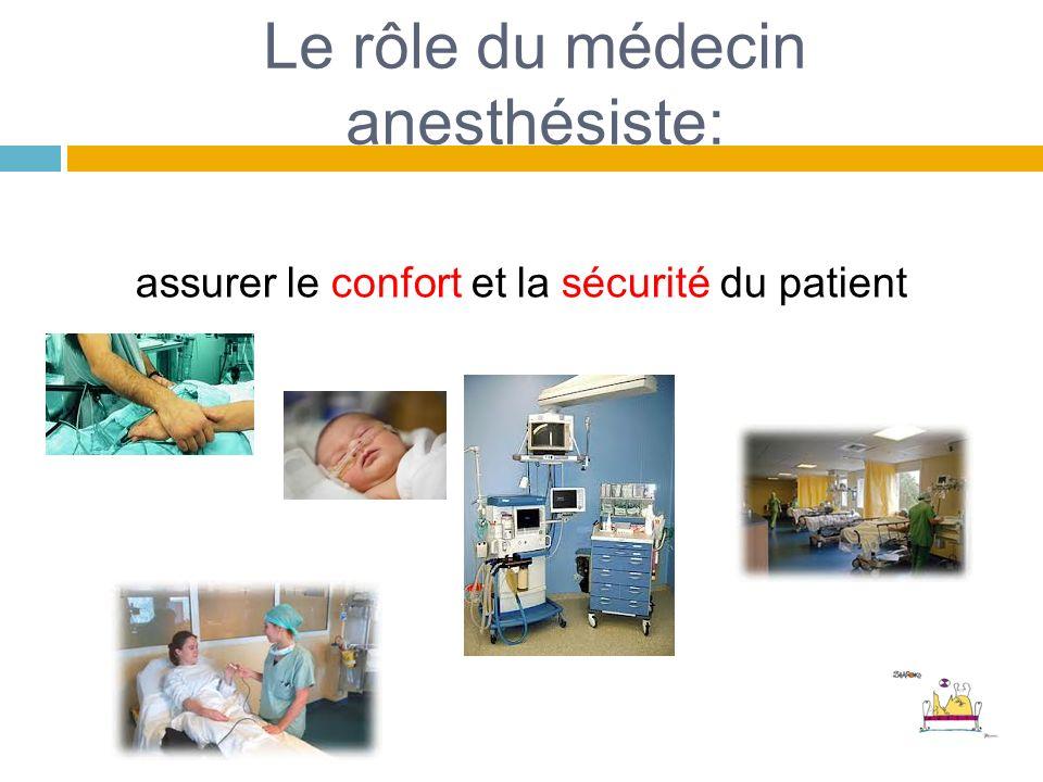 Le rôle du médecin anesthésiste: assurer le confort et la sécurité du patient