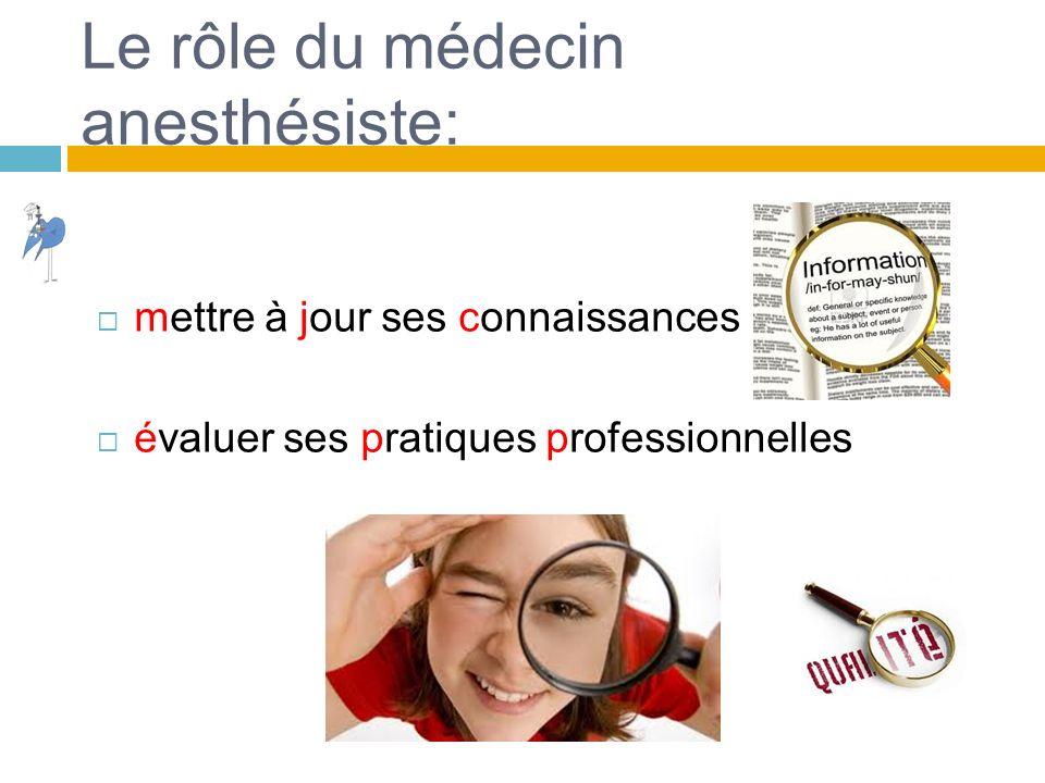 Le rôle du médecin anesthésiste: mettre à jour ses connaissances évaluer ses pratiques professionnelles