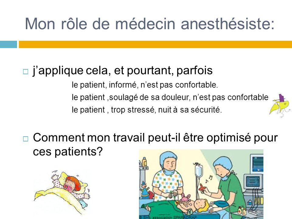 Mon rôle de médecin anesthésiste: japplique cela, et pourtant, parfois le patient, informé, nest pas confortable. le patient,soulagé de sa douleur, ne