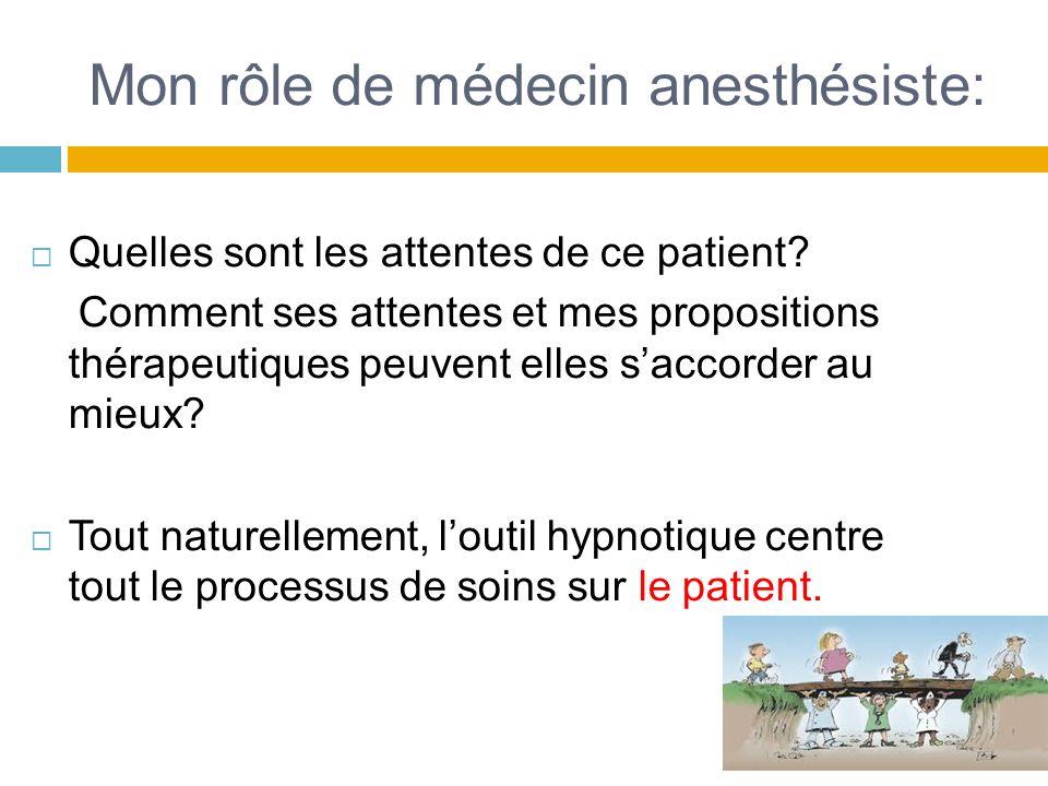 Mon rôle de médecin anesthésiste: Quelles sont les attentes de ce patient? Comment ses attentes et mes propositions thérapeutiques peuvent elles sacco