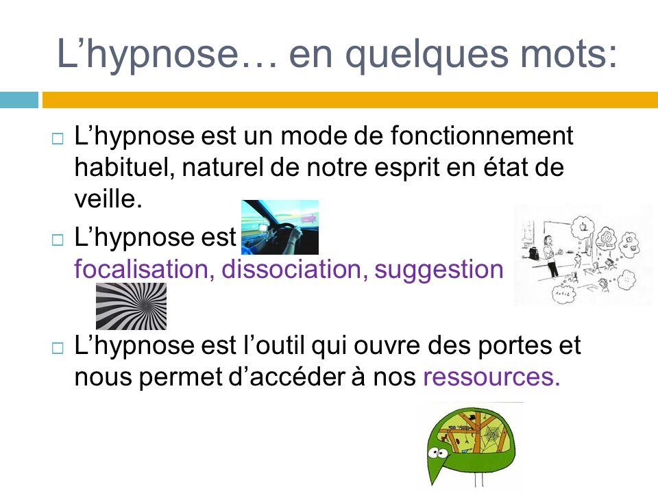Lhypnose… en quelques mots: Lhypnose est un mode de fonctionnement habituel, naturel de notre esprit en état de veille. Lhypnose est focalisation, dis