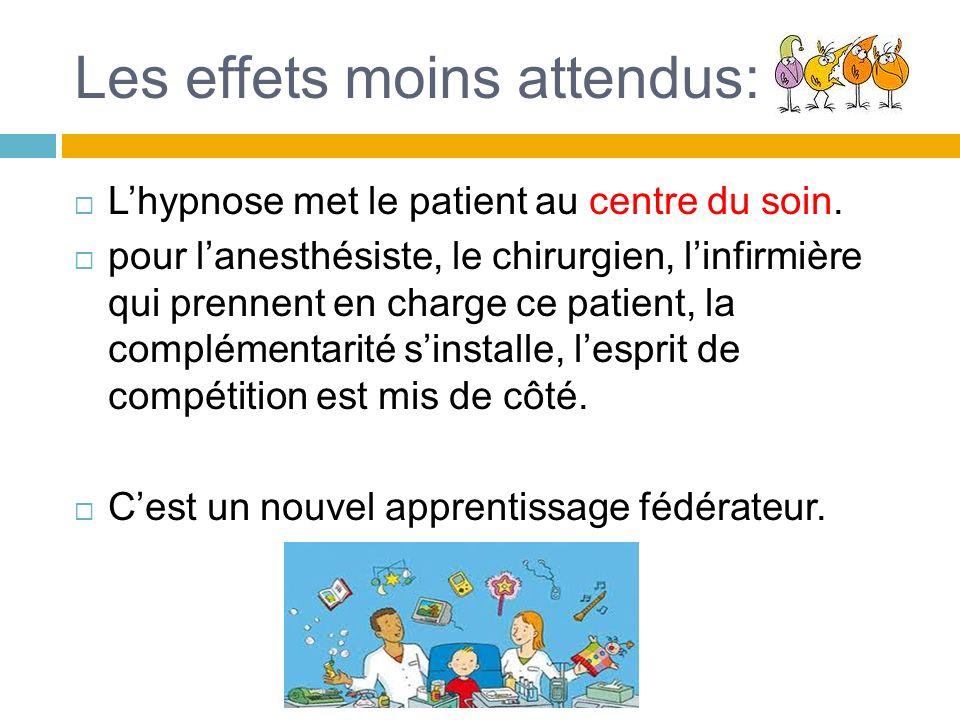 Les effets moins attendus: Lhypnose met le patient au centre du soin. pour lanesthésiste, le chirurgien, linfirmière qui prennent en charge ce patient