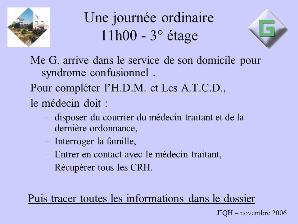 JIQH – novembre 2006 Une journée ordinaire 11h00 - 3° étage Me G. arrive dans le service de son domicile pour syndrome confusionnel. Pour compléter lH