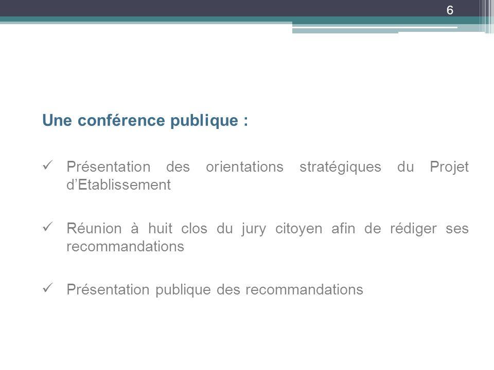 6 Une conférence publique : Présentation des orientations stratégiques du Projet dEtablissement Réunion à huit clos du jury citoyen afin de rédiger ses recommandations Présentation publique des recommandations