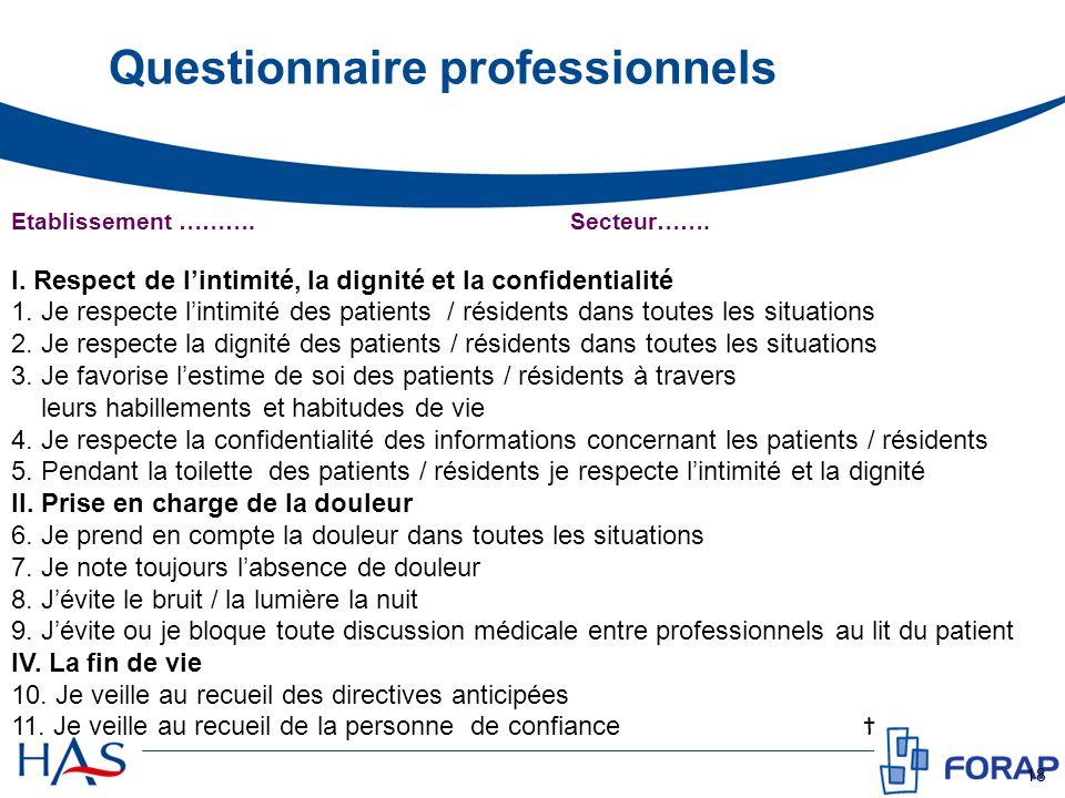 Questionnaire professionnels 18 Etablissement ……….