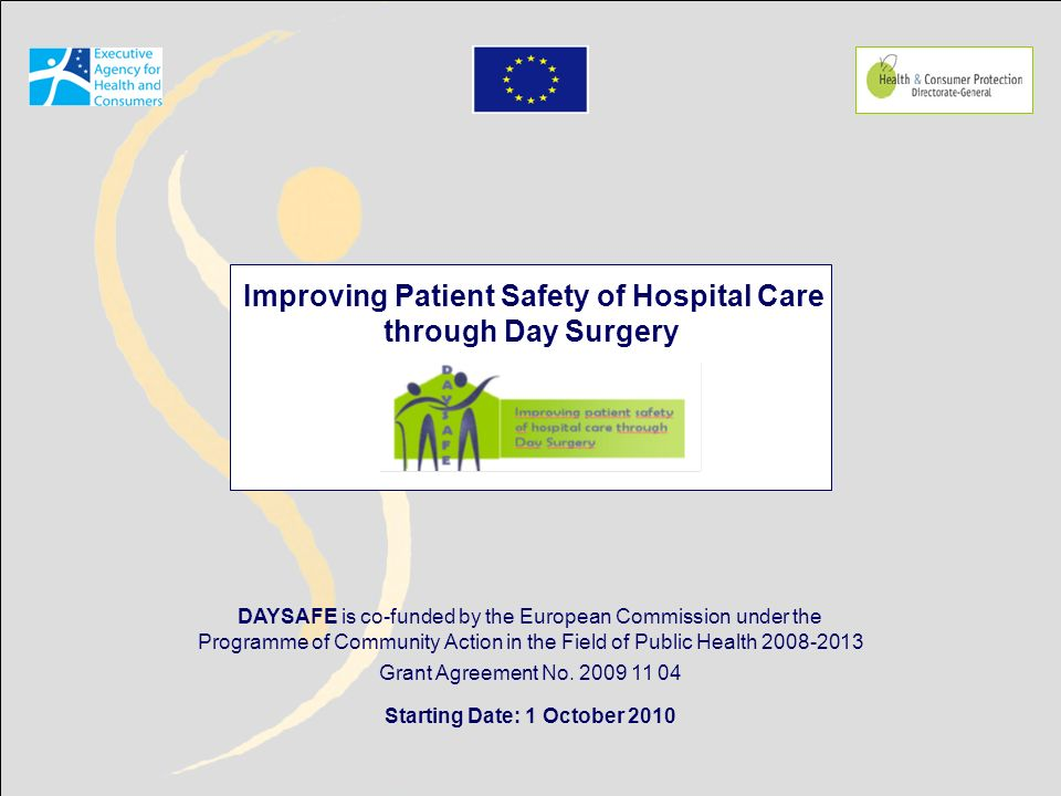 DAYSAFE is co-funded by the European Commission under the Programme of Community Action in the Field of Public Health 2008-2013 Grant Agreement No.