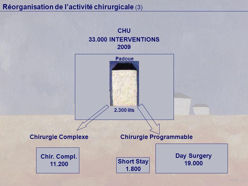 Réorganisation de lactivité chirurgicale (3) Padoue 2.300 lits CHU 33.000 INTERVENTIONS 2009 Chirurgie ComplexeChirurgie Programmable Chir. Compl. 11.