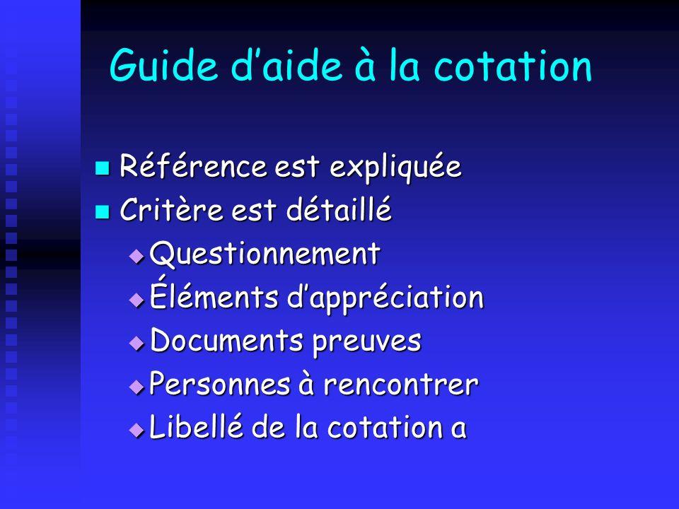Guide daide à la cotation Référence est expliquée Référence est expliquée Critère est détaillé Critère est détaillé Questionnement Questionnement Élém