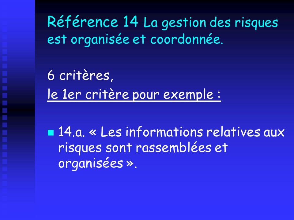 Référence 14 La gestion des risques est organisée et coordonnée. 6 critères, le 1er critère pour exemple : 14.a. « Les informations relatives aux risq