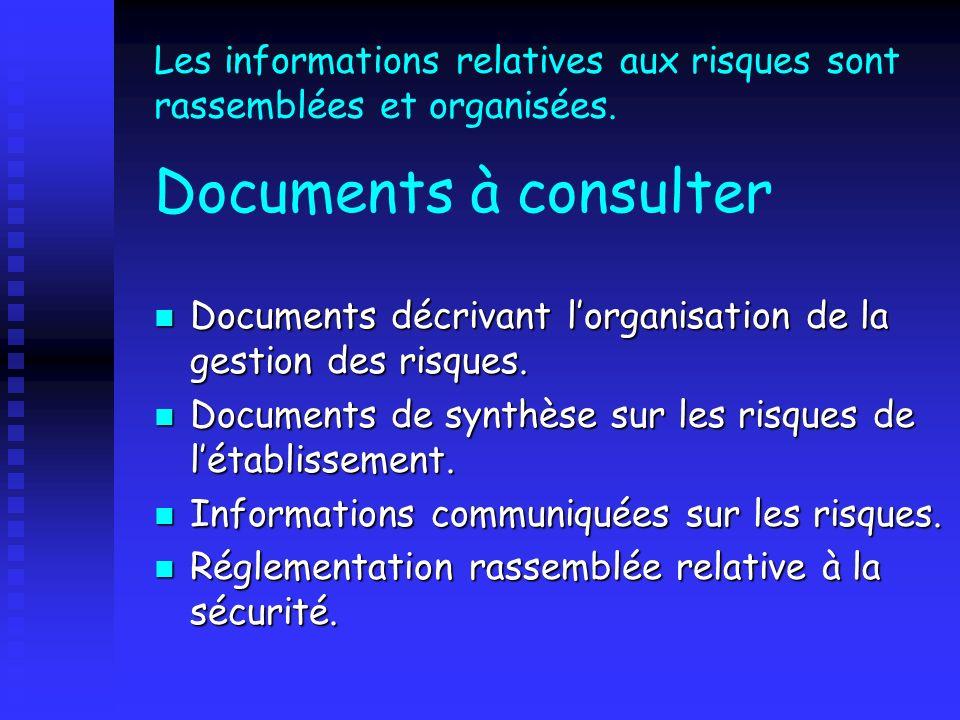 Les informations relatives aux risques sont rassemblées et organisées. Documents à consulter Documents décrivant lorganisation de la gestion des risqu