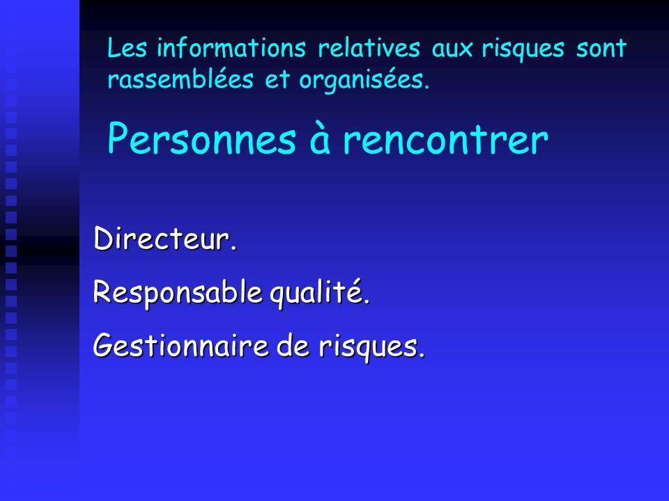 Les informations relatives aux risques sont rassemblées et organisées. Personnes à rencontrer Directeur. Responsable qualité. Gestionnaire de risques.