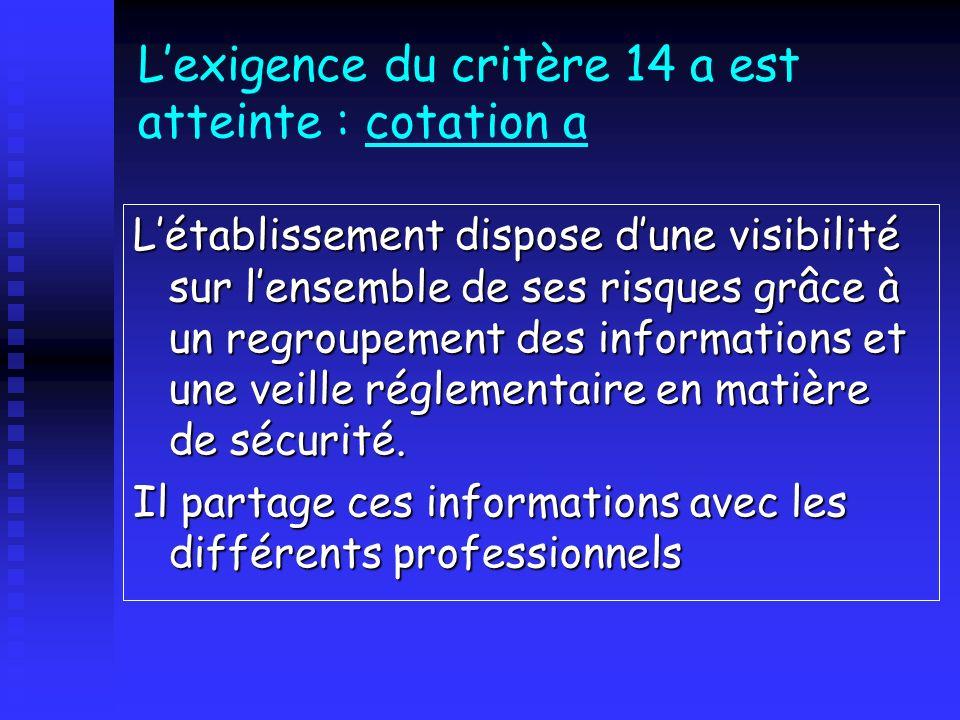 Lexigence du critère 14 a est atteinte : cotation a Létablissement dispose dune visibilité sur lensemble de ses risques grâce à un regroupement des in