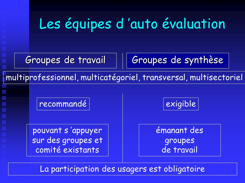 Les équipes d auto évaluation Groupes de travail Groupes de synthèse multiprofessionnel, multicatégoriel, transversal, multisectoriel recommandéexigib