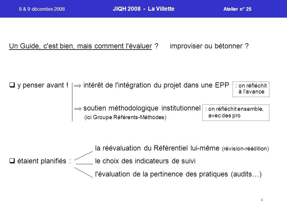 4 8 & 9 décembre 2008 JIQH 2008 - La Villette Atelier n° 25 : on réfléchit à l avance : on réfléchit ensemble, avec des pro Un Guide, c est bien, mais comment l évaluer .