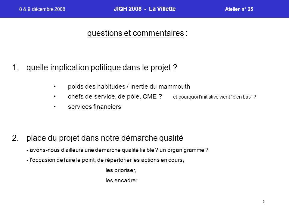 6 8 & 9 décembre 2008 JIQH 2008 - La Villette Atelier n° 25 1.quelle implication politique dans le projet ? poids des habitudes / inertie du mammouth