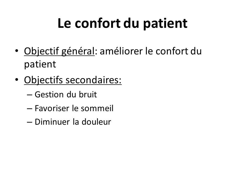 Le confort du patient Objectif général: améliorer le confort du patient Objectifs secondaires: – Gestion du bruit – Favoriser le sommeil – Diminuer la douleur