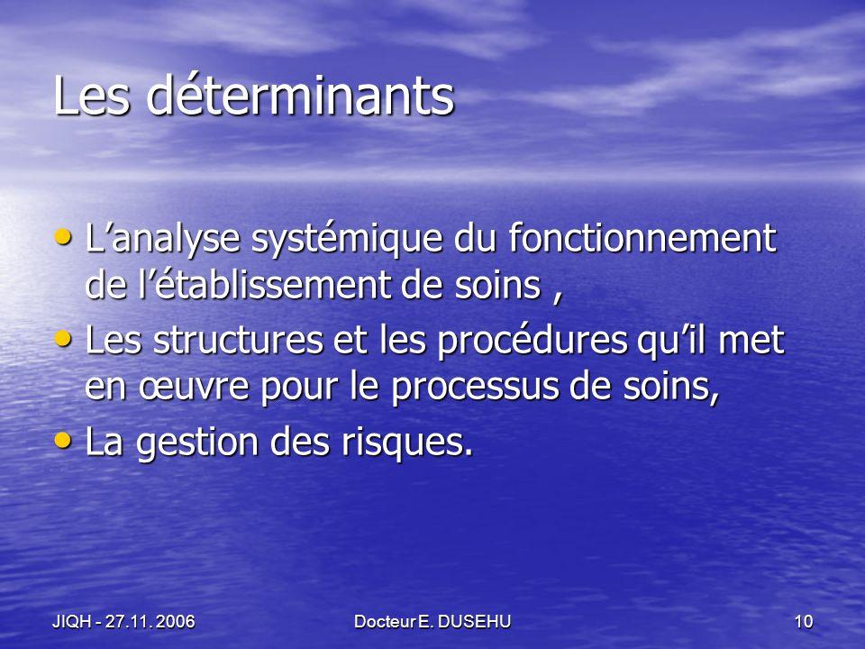 JIQH - 27.11. 2006Docteur E.