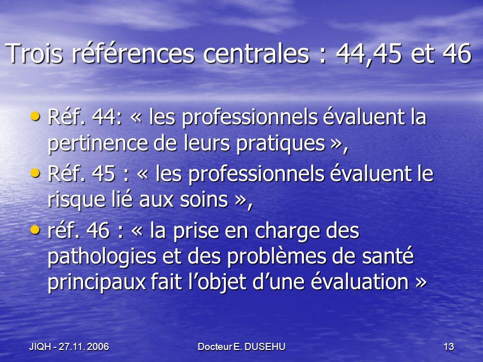 JIQH - 27.11. 2006Docteur E. DUSEHU13 Trois références centrales : 44,45 et 46 Réf.