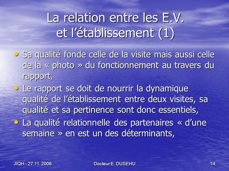JIQH - 27.11. 2006Docteur E. DUSEHU14 La relation entre les E.V.