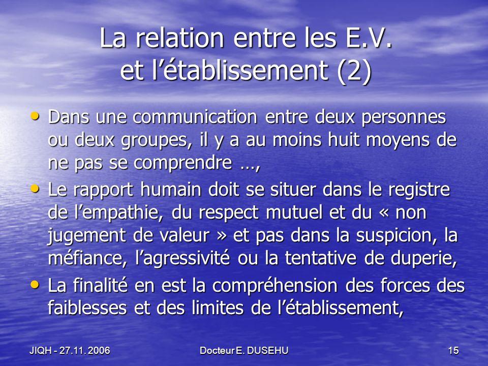 JIQH - 27.11. 2006Docteur E. DUSEHU15 La relation entre les E.V.