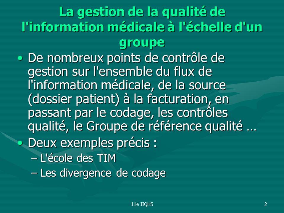 11e JIQHS2 La gestion de la qualité de l'information médicale à l'échelle d'un groupe De nombreux points de contrôle de gestion sur l'ensemble du flux