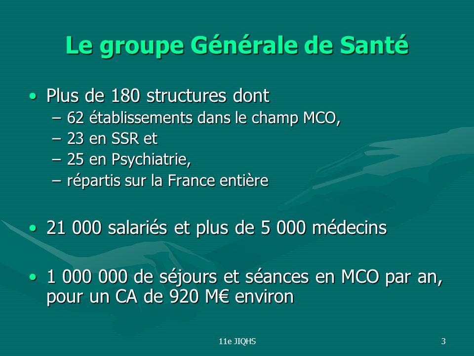 11e JIQHS3 Le groupe Générale de Santé Plus de 180 structures dontPlus de 180 structures dont –62 établissements dans le champ MCO, –23 en SSR et –25