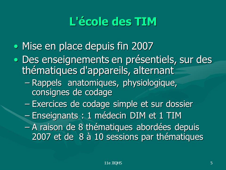 11e JIQHS5 L'école des TIM Mise en place depuis fin 2007Mise en place depuis fin 2007 Des enseignements en présentiels, sur des thématiques d'appareil