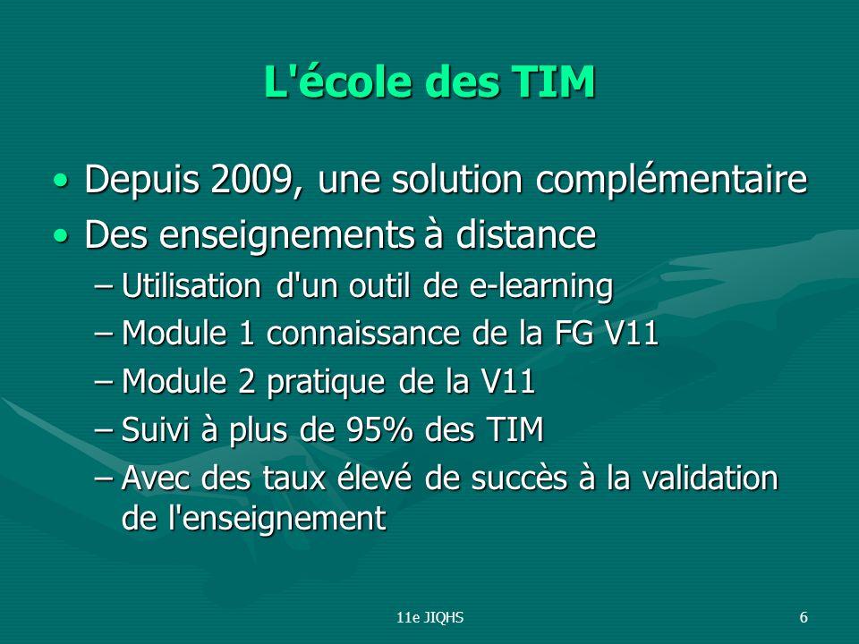 11e JIQHS6 L'école des TIM Depuis 2009, une solution complémentaireDepuis 2009, une solution complémentaire Des enseignements à distanceDes enseigneme