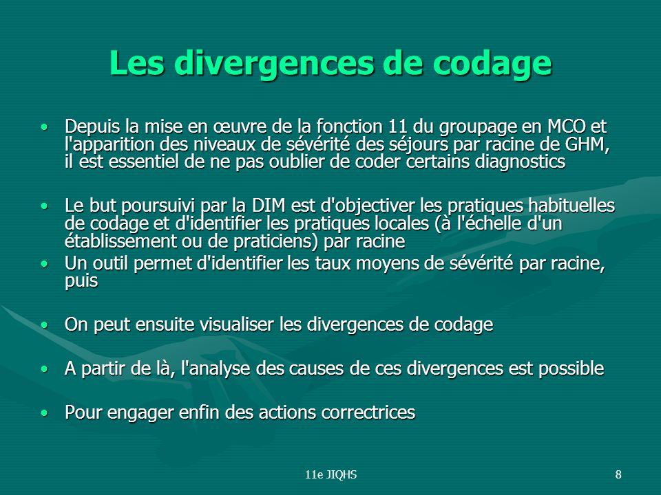 11e JIQHS8 Les divergences de codage Depuis la mise en œuvre de la fonction 11 du groupage en MCO et l'apparition des niveaux de sévérité des séjours