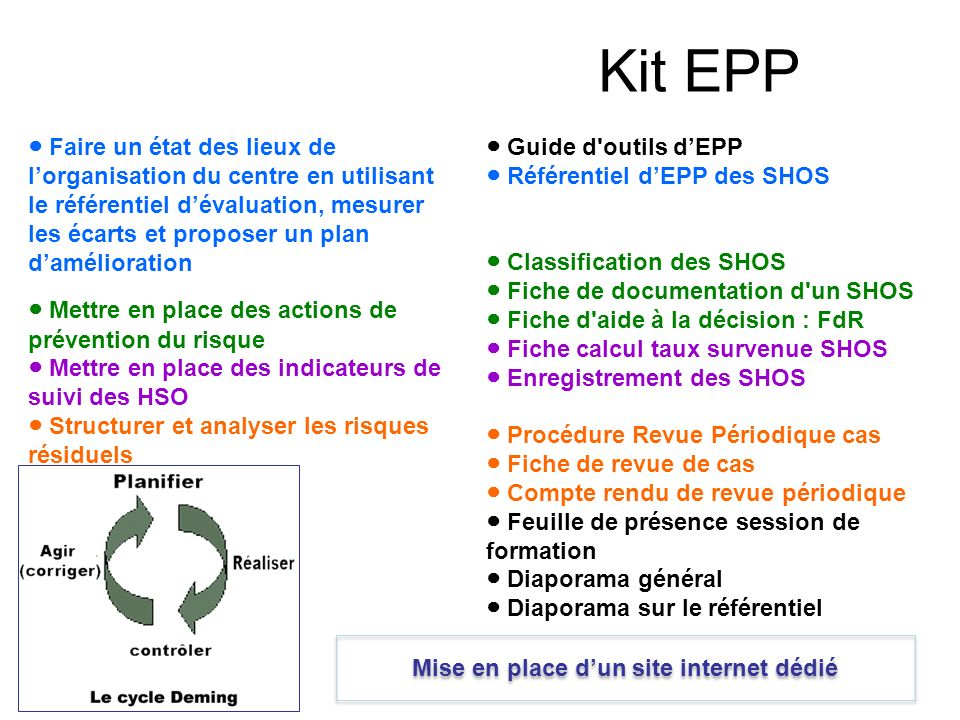 Kit EPP Guide d'outils dEPP Référentiel dEPP des SHOS Classification des SHOS Fiche de documentation d'un SHOS Fiche d'aide à la décision : FdR Fiche