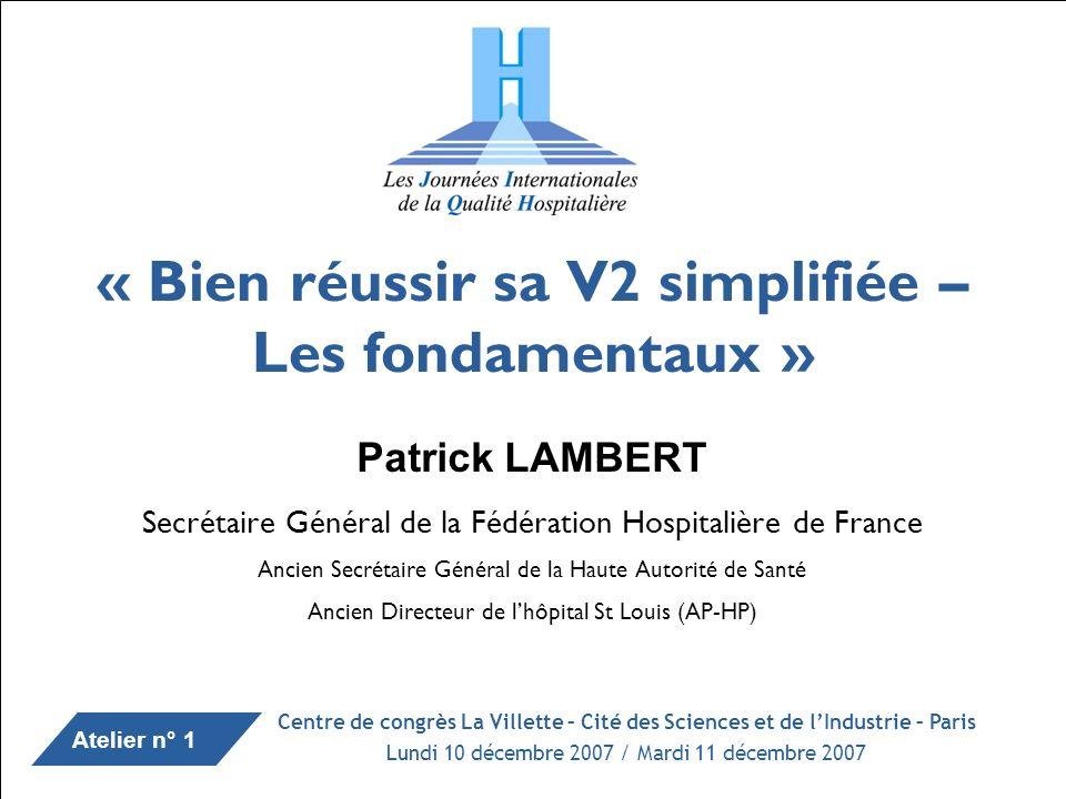 Patrick LAMBERT / JIQH / 10.10.2007 I – Témoignages de Saint Louis I-1 – Découverte du concept daccréditation par le hôpitaux entre 1996 et 2000.