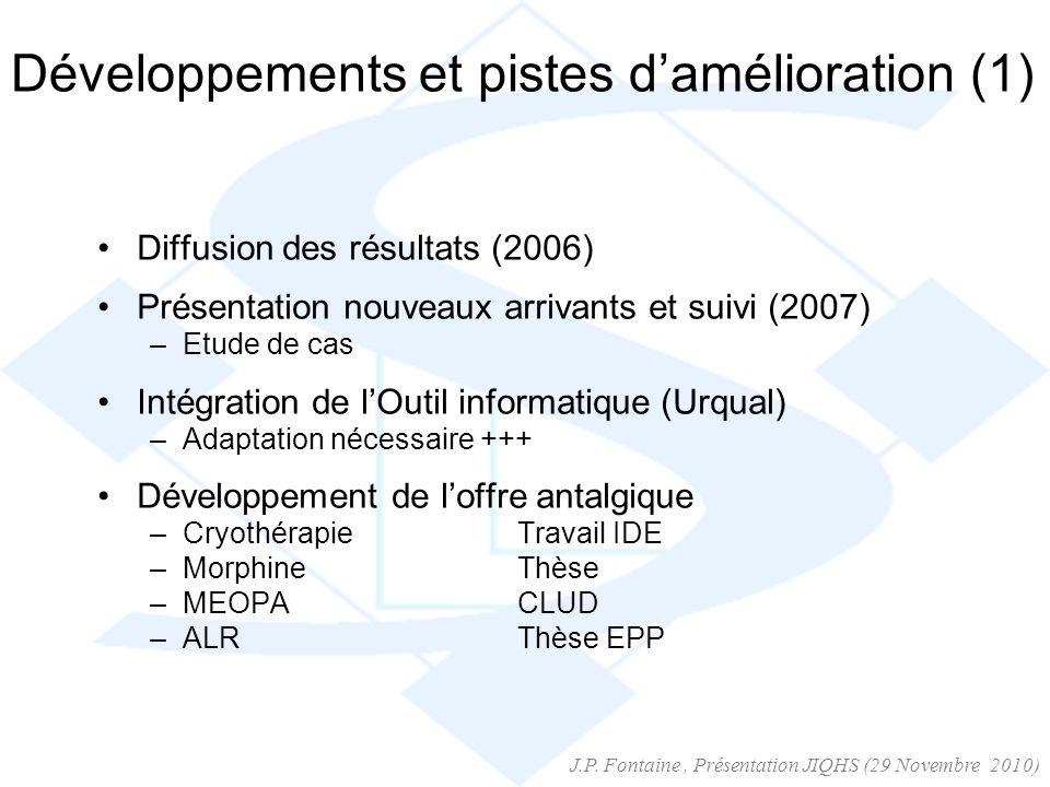 Développements et pistes damélioration (1) Diffusion des résultats (2006) Présentation nouveaux arrivants et suivi (2007) –Etude de cas Intégration de
