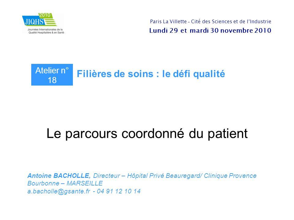 Le parcours coordonné du patient Antoine BACHOLLE, Directeur – Hôpital Privé Beauregard/ Clinique Provence Bourbonne – MARSEILLE a.bacholle@gsante.fr