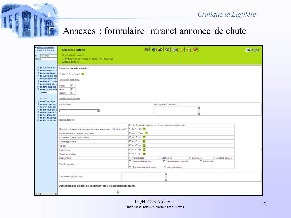 JIQH 2009 Atelier 5 : informatisons les tâches routinières 11 Clinique la Lignière Annexes : formulaire intranet annonce de chute