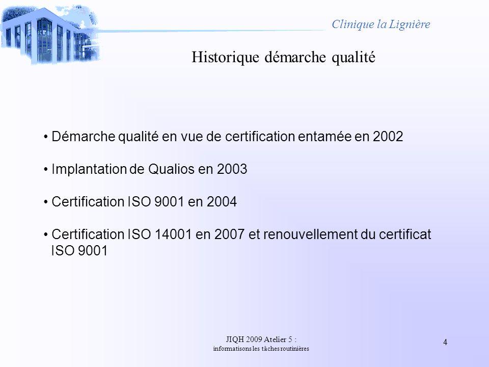 JIQH 2009 Atelier 5 : informatisons les tâches routinières 4 Clinique la Lignière Historique démarche qualité Démarche qualité en vue de certification