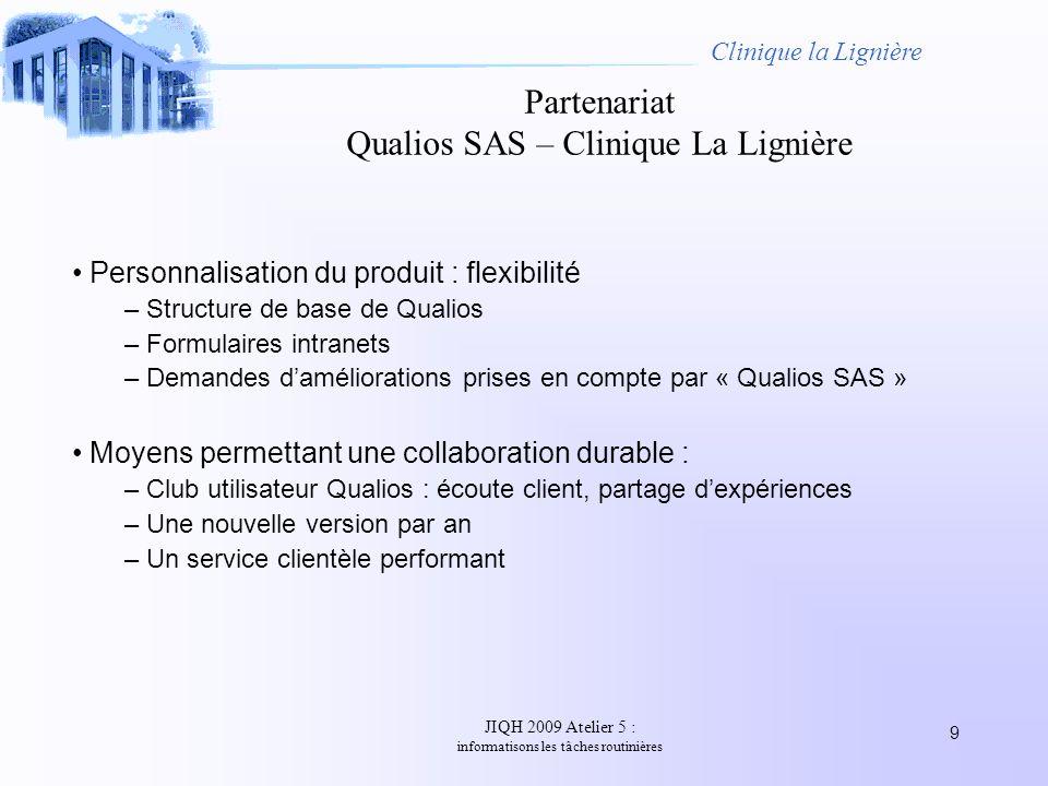JIQH 2009 Atelier 5 : informatisons les tâches routinières 9 Clinique la Lignière Partenariat Qualios SAS – Clinique La Lignière Personnalisation du p