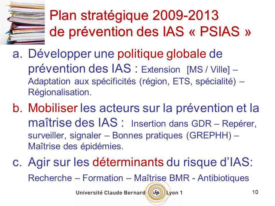 10 Plan stratégique 2009-2013 de prévention des IAS « PSIAS » a.Développer une politique globale de prévention des IAS : Extension [MS / Ville] – Adap