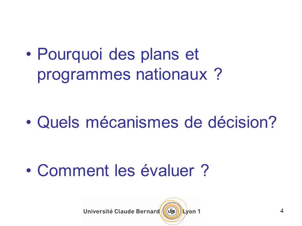Pourquoi des plans et programmes nationaux ? Quels mécanismes de décision? Comment les évaluer ? 4